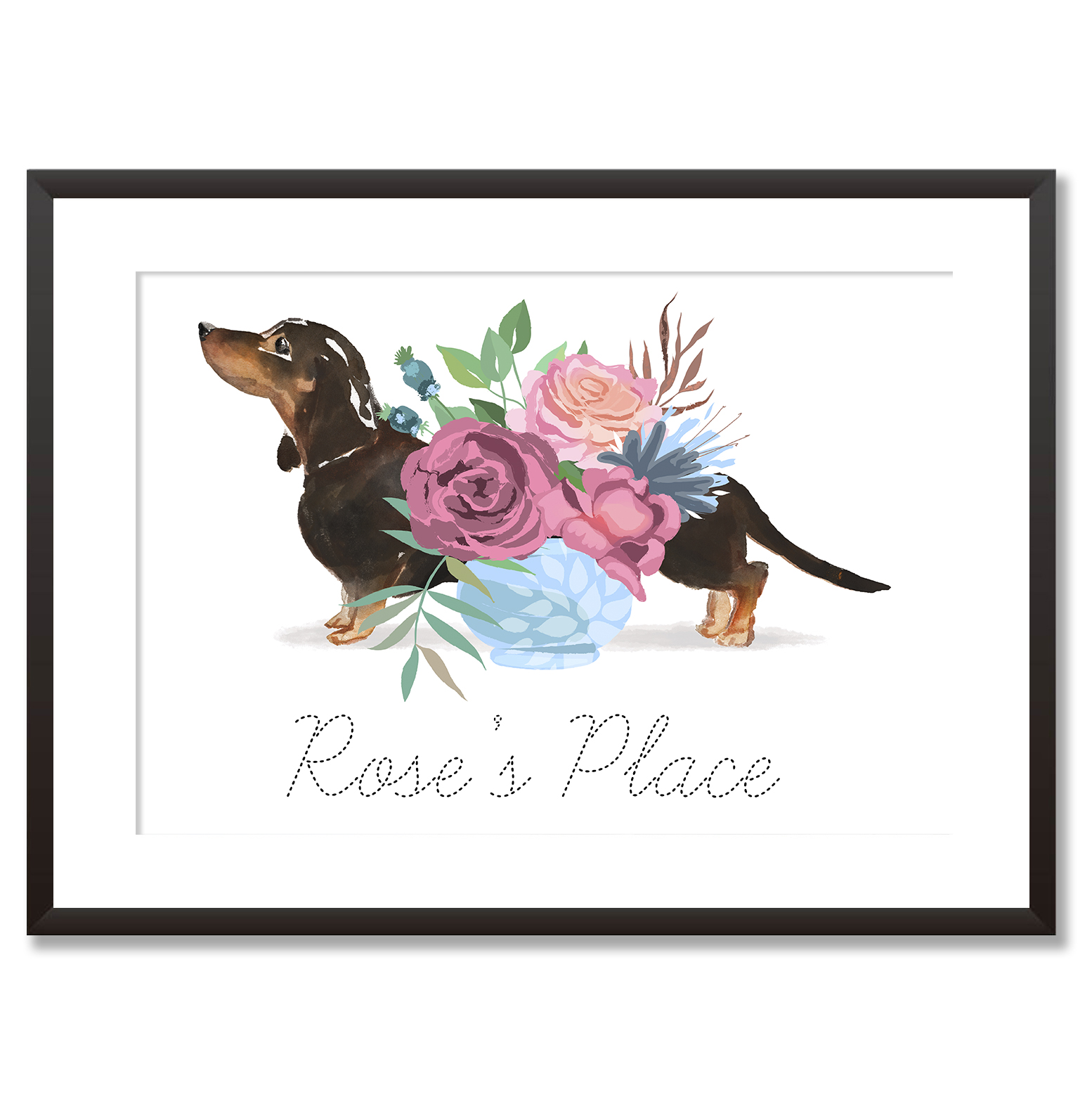 Personalised Dachshund Dog Flower Vase by Mode Prints Black Frame.jpg